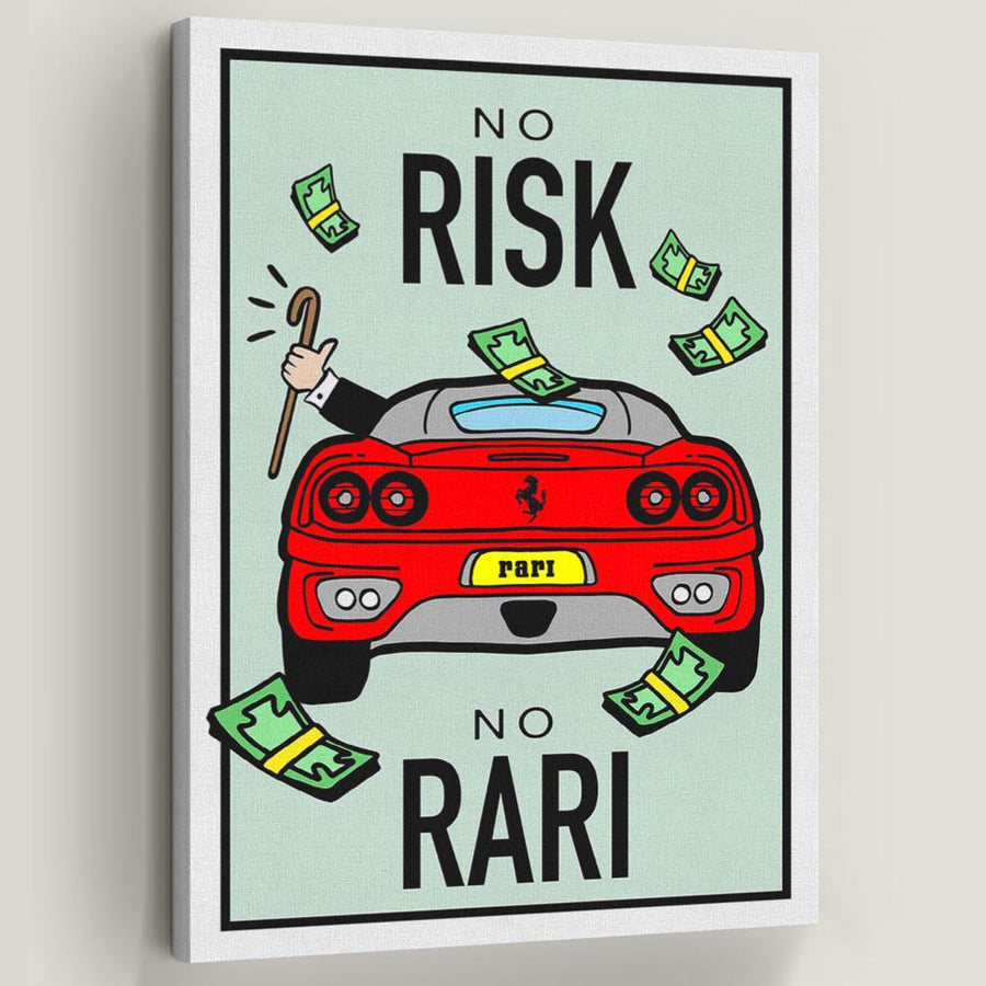 No Risk No Rari-Canvas-Symbolic Designs - Monopoly Inspired Game On Motivational Art