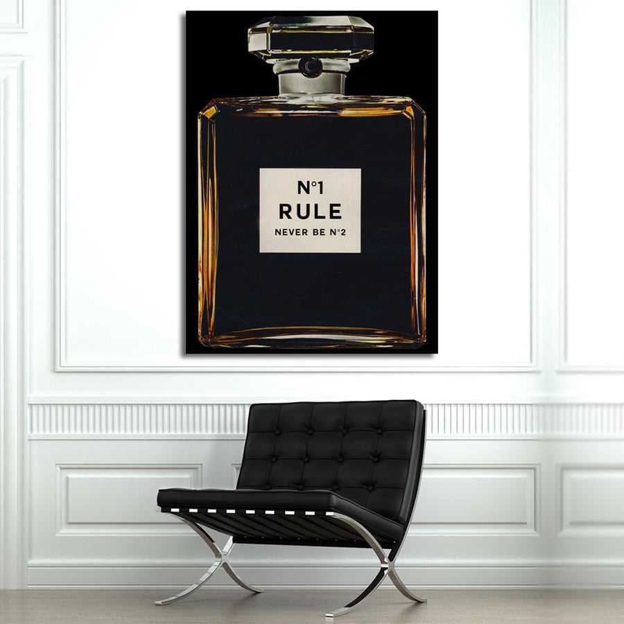 Number One Rule Perfume Chanel Bottle wall art decor artwork canvas prints for home office gym by Symbolic Designs