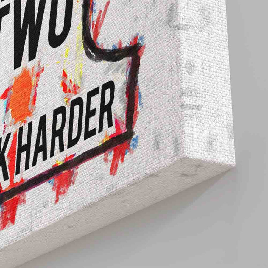 Harley Davidson Logo Work Harder Canvas Art