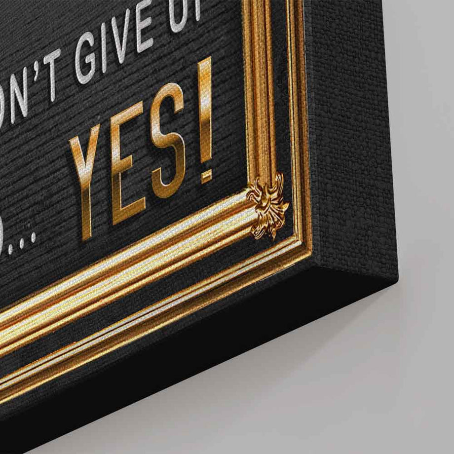 One Yes Away From Success Gold Typography Art decor artwork wall prints canvas for home gym office by symbolic designs corner