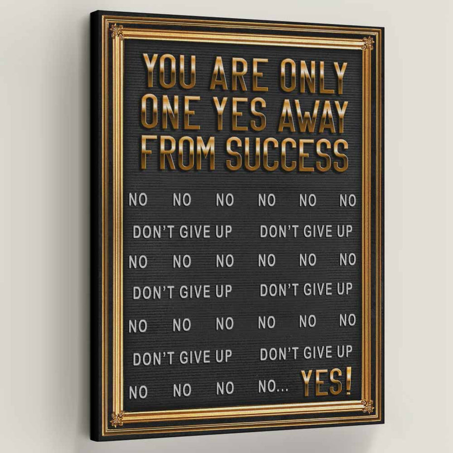 One Yes Away From Success Gold Typography Art decor artwork wall prints canvas for home gym office by symbolic designs