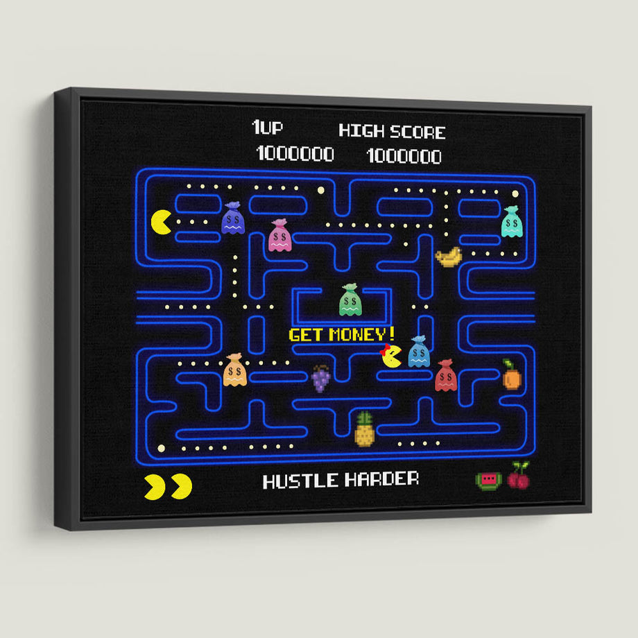 Pac Money-Canvas-Symbolic Designs - Monopoly Inspired Game On Motivational Art black frame