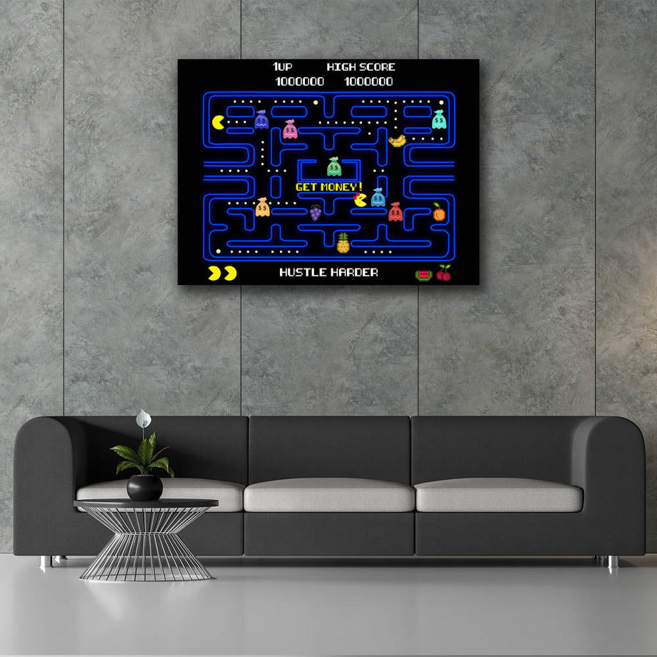 Pac Money-Canvas-Symbolic Designs - Monopoly Inspired Game On Motivational Art