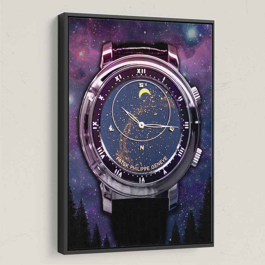 Patek Phillippe Celestial Timepiece Watch Canvas Art wall decor artwork prints for home office gym by symbolic designs black frame