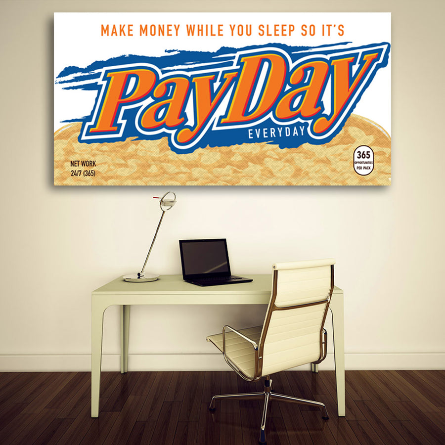 PayDay Chocolate Candy Bar motivational inspirational art artwork prints on canvas wall decor giclees for home gym office by Symbolic Designs
