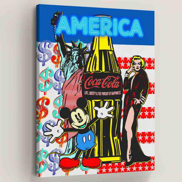 Pop America Mickey Mouse Marilyn Monroe Coke Liberty Canvas Art