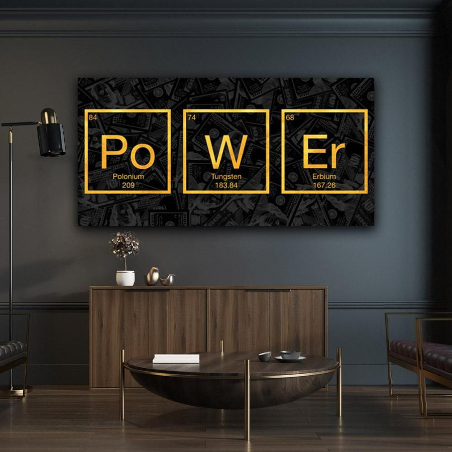 Power Molecule Science Elements Periodic Table Mindset motivational inspirational art artwork prints on canvas wall decor giclees for home gym office by Symbolic Designs