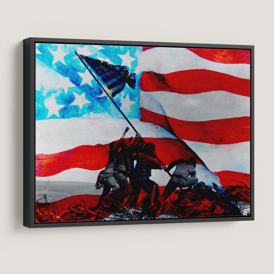 Raising The Flag on Iwo Jima America Soldiers Veterans Mindset motivational inspirational art artwork prints on canvas wall decor giclees for home gym office by Symbolic Designs