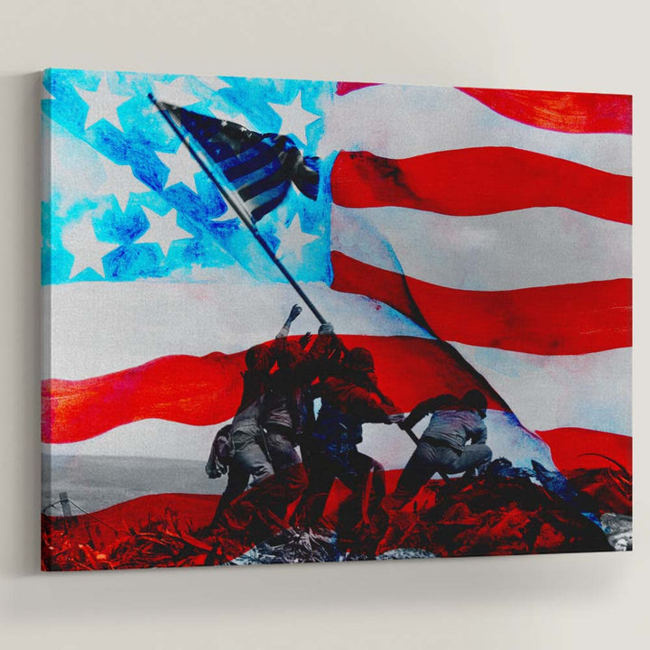 Raising The Flag on Iwo Jima America Soldiers Veterans Canvas Art