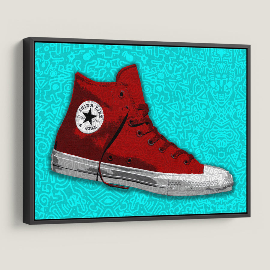 Red Converse Doodle Mindset motivational inspirational art artwork prints on canvas wall decor giclees for home gym office by Symbolic Designs