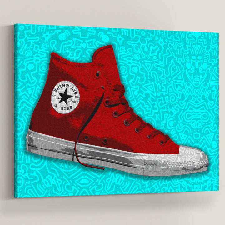 "Red Converse Doodle - Symbolic Designs Motivational Canvas Art. Seize the day and shine like a star! Introducing ""Red Converse Doodle"" a part of our Walk of Fame collection."