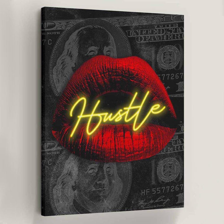 Hustle Lips Canvas Art