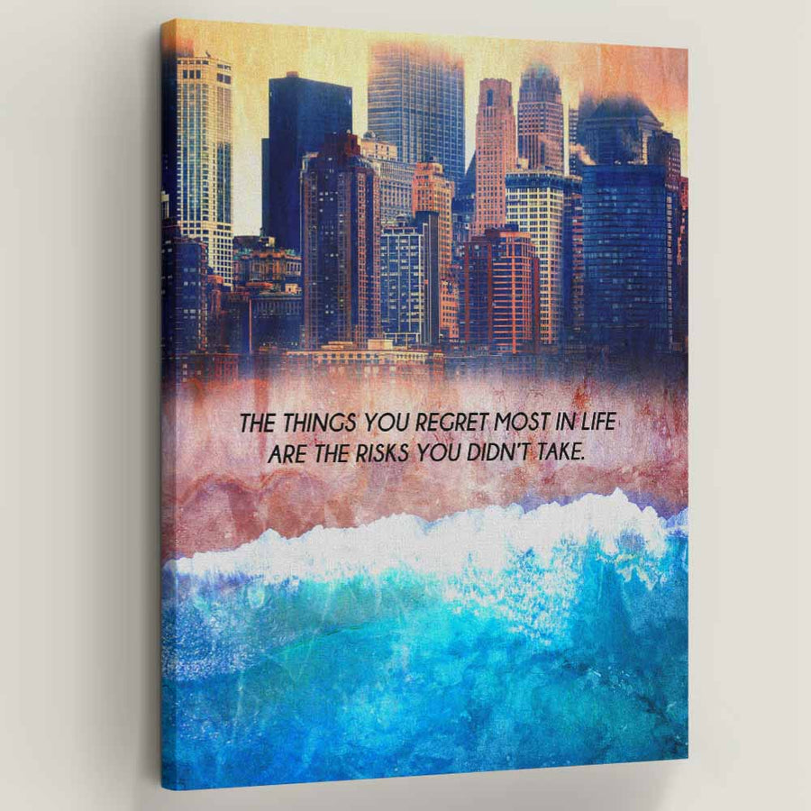 Regret No Risk - Symbolic Designs Cool Inspirational Canvas Art