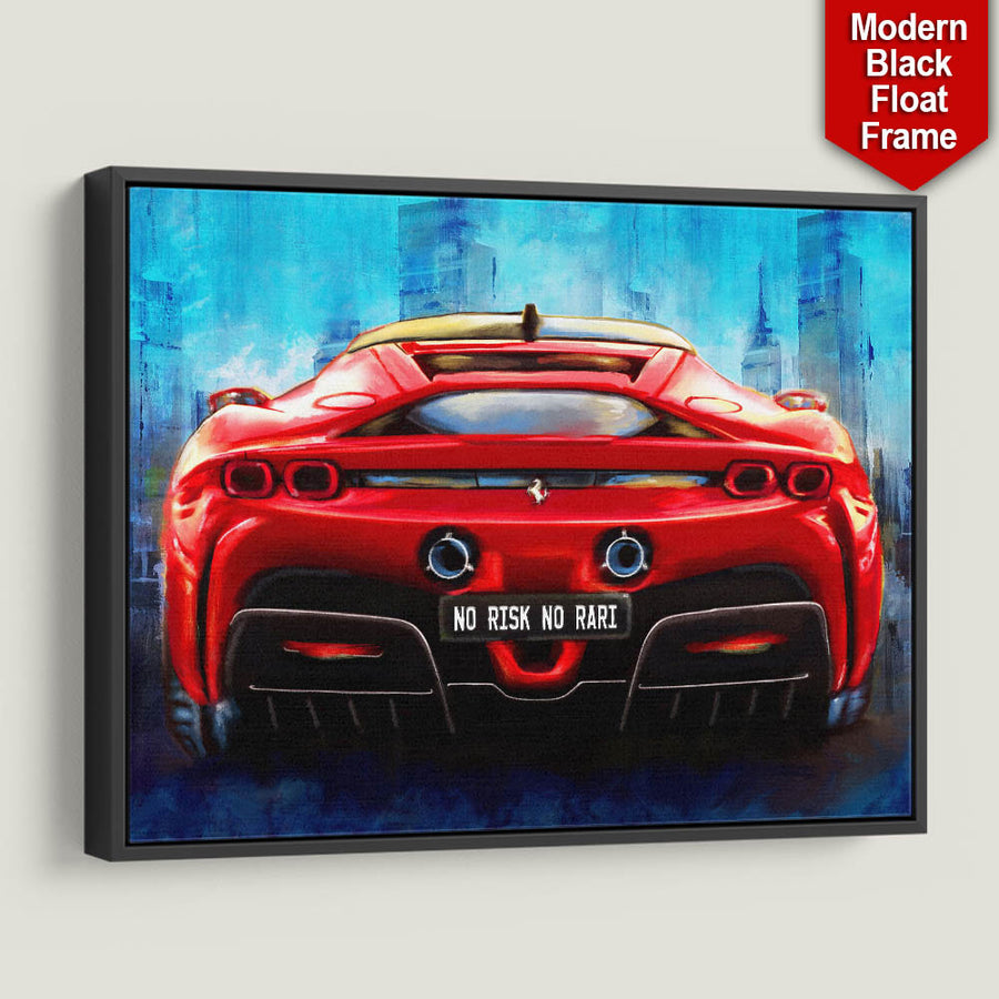 Risk Taker Rari Sports Car Entrepreneaur Passion Mindset motivational inspirational art artwork prints on canvas wall decor giclees for home gym office by Symbolic Designs black frame