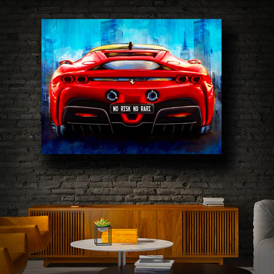 Risk Taker Rari Sports Car Entrepreneaur Passion Mindset motivational inspirational art artwork prints on canvas wall decor giclees for home gym office by Symbolic Designs