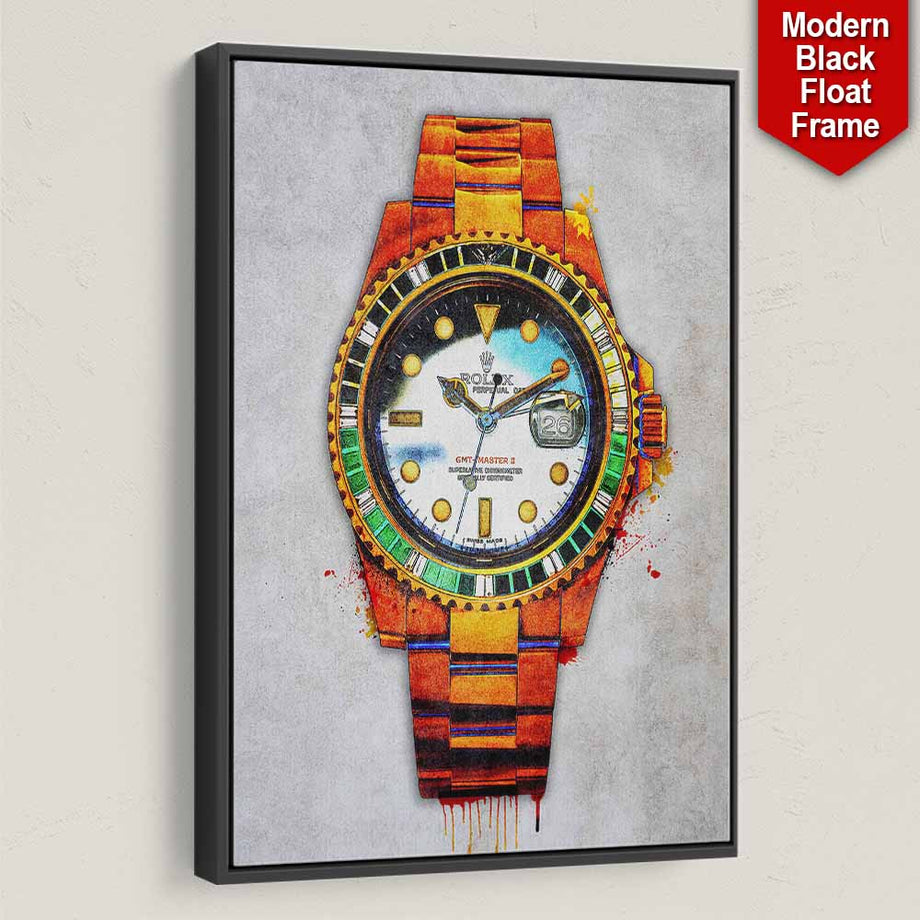 Rolex Me décor Entrepreneur Passion Mindset motivational inspirational art artwork prints on canvas wall decor giclees for home gym office by Symbolic Designs black frame