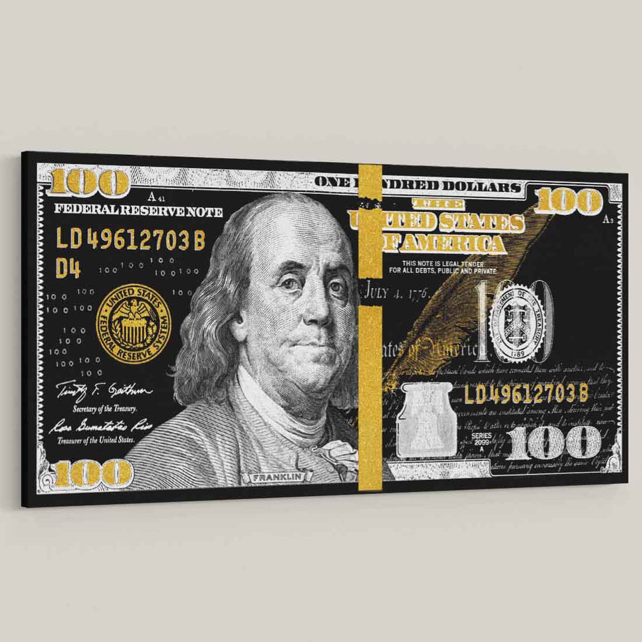 large format canvas money 100 bill art