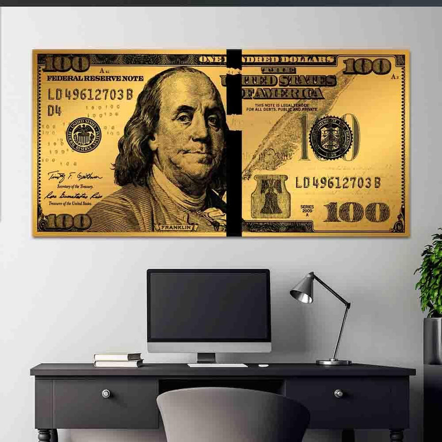 Gold Benjamin Cash Money Dollar Bill Street Art Modern/Pop Culture Canvas Wall Art - Symbolic Designs