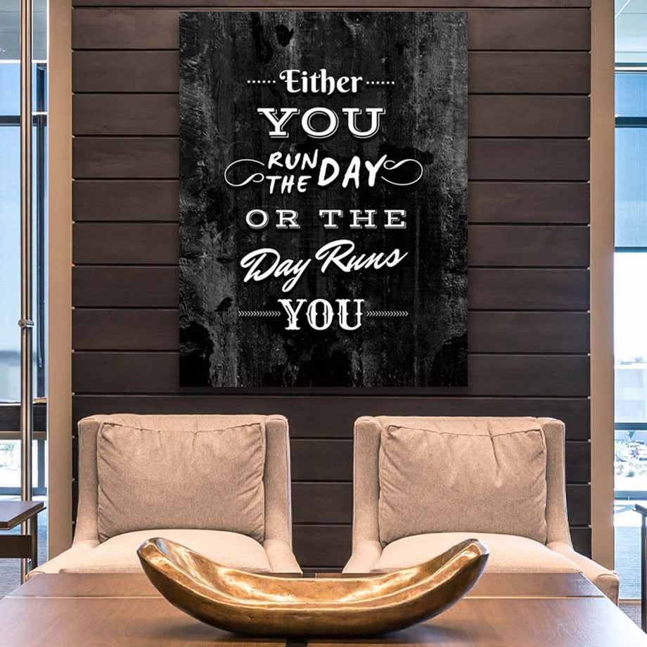Run the Day décor Entrepreneur Passion Mindset motivational inspirational art artwork prints on canvas wall giclees for home gym office by Symbolic Designs lifestyle
