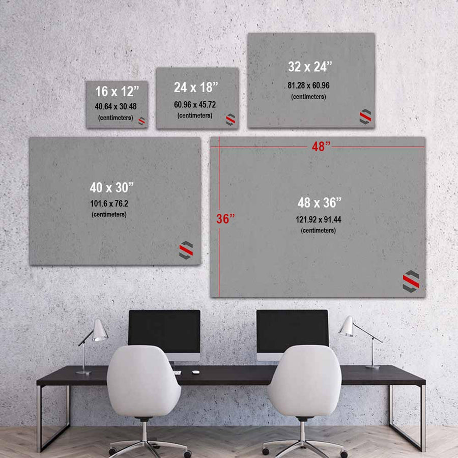 Success Definition Canvas Art  for Inspiration by Symbolic Designs size chart