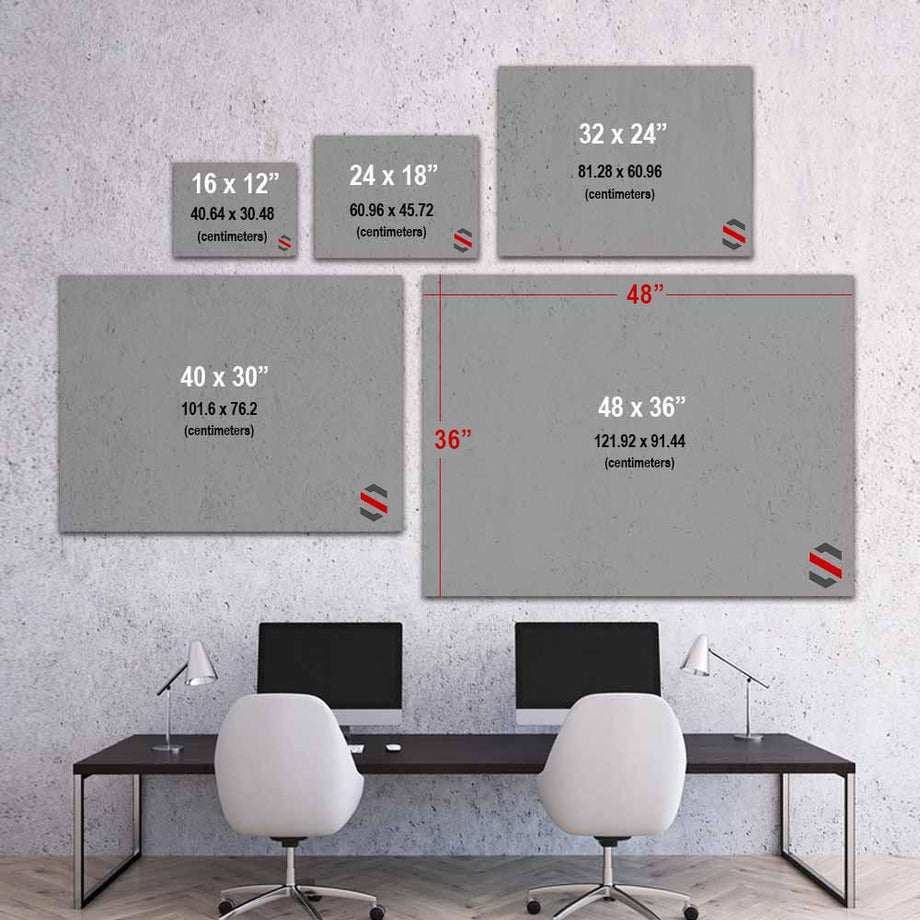 Mindset motivational inspirational art artwork prints on canvas wall decor giclees for home gym office by Symbolic Designs size chart