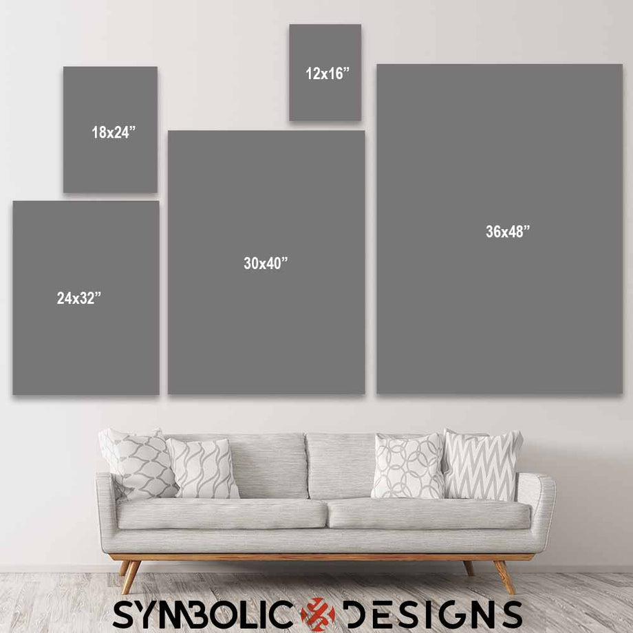 Size chart Off-White No Days Off Virgil Abloh Inspirational Motivational Canvas Art for home office gym wall decor by Symbolic Designs