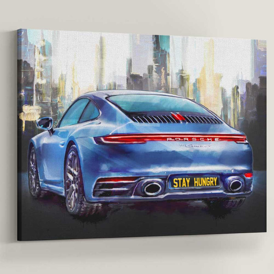 Stay Hungry Ride Sports Car décor Entrepreneur Passion Mindset motivational inspirational art artwork prints on canvas wall decor giclees for home gym office by Symbolic Designs