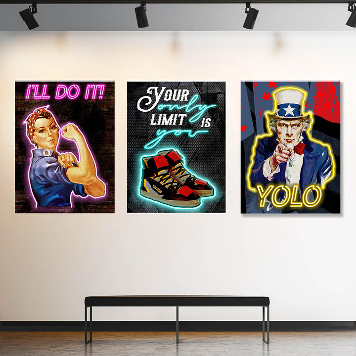 Street Lights Bundle décor Entrepreneur Passion Mindset motivational inspirational art artwork prints on canvas wall giclees for home gym office by Symbolic Designs