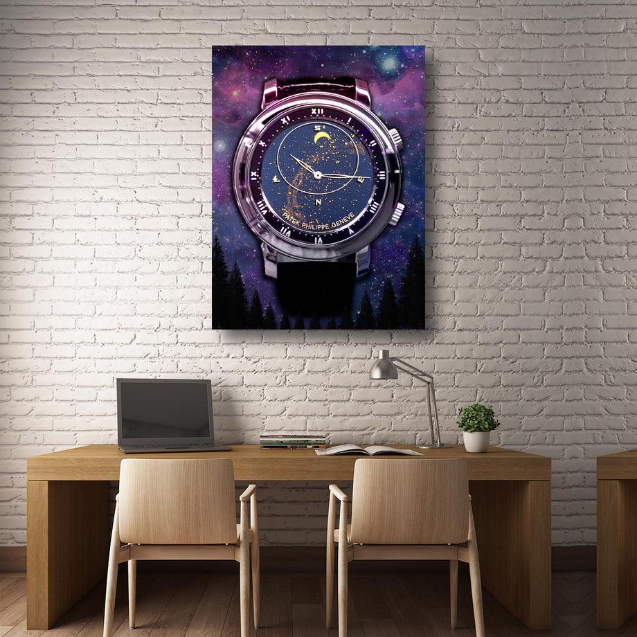 Patek Phillippe Celestial Timepiece Watch Canvas Art wall decor artwork prints for home office gym by symbolic designs