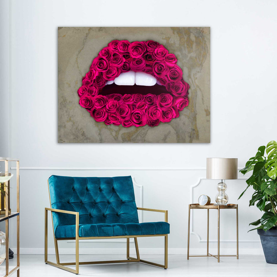 Pink Roses Good Morning Kiss Lips motivational inspirational art artwork prints on canvas wall decor giclees for home gym office by Symbolic Designs
