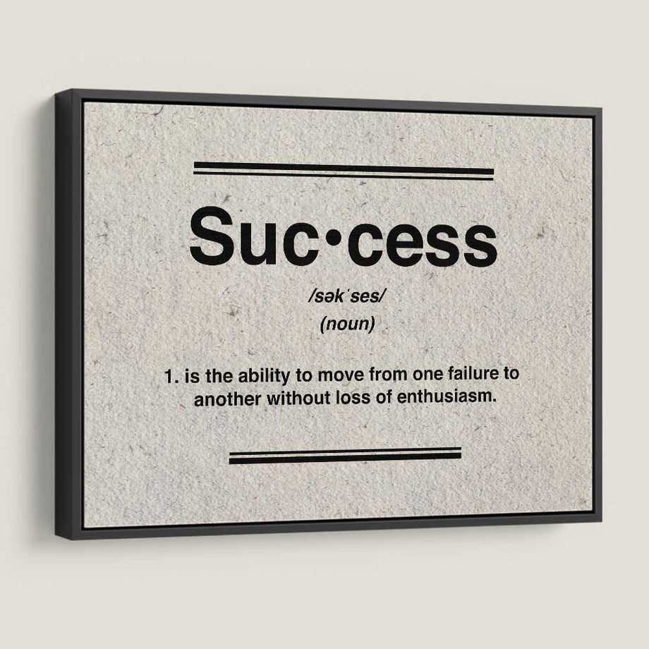 Success Definition Canvas Art  for Inspiration by Symbolic Designs black frame