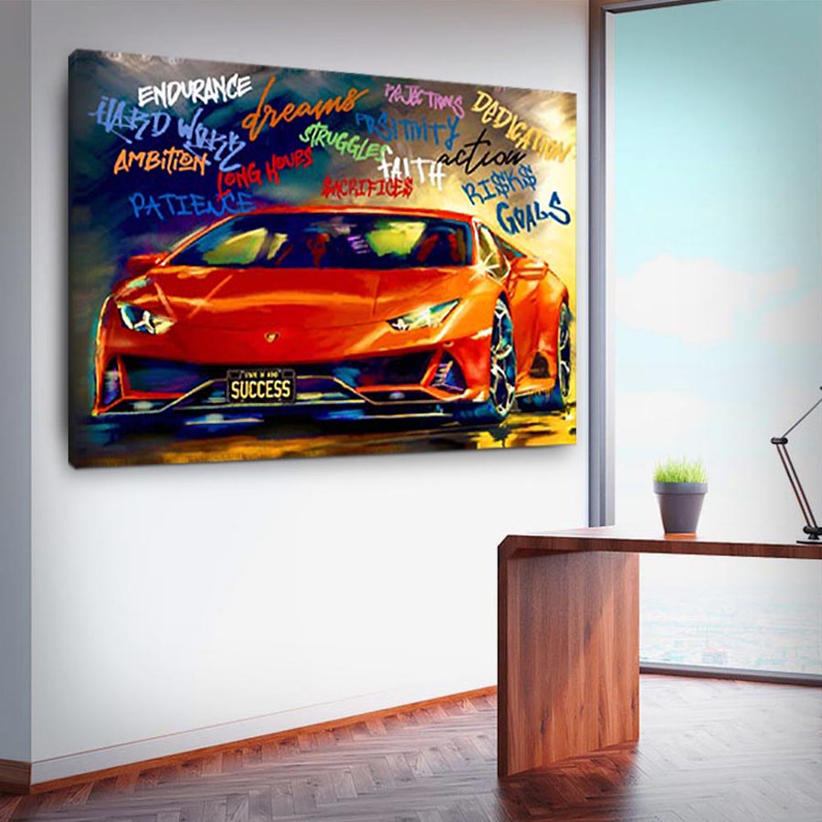 Success State Of Mind Sports Car inspirational motivational canvas art for home office gym by symbolic designs
