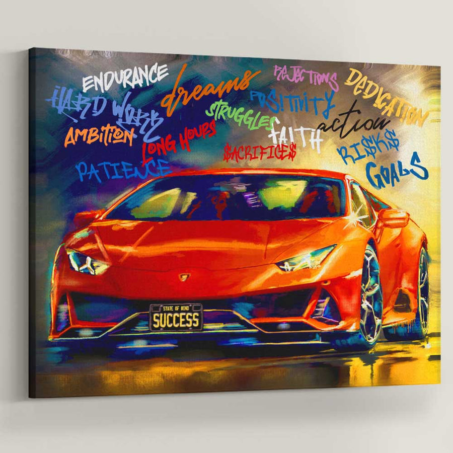 Success State Of Mind Sports Car Art Motivation