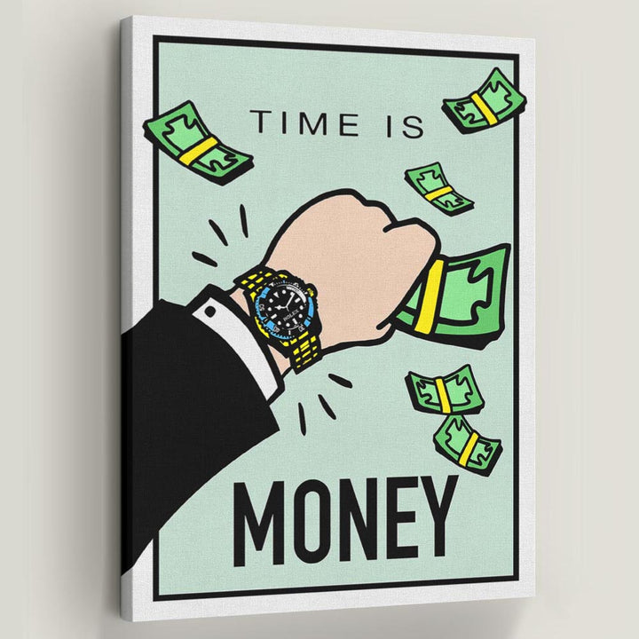 Time is Money-Canvas-Symbolic Designs - Monopoly Inspired Game On Motivational Art