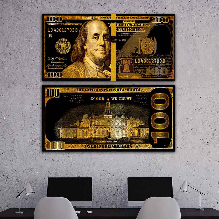 We Trust Golden Frank Bills Hundred Dollar Bill inspirational motivational canvas art for home office gym by symbolic designs lifestyle