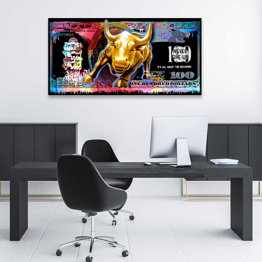 Wall Street Bull Money inspirational motivational canvas art for home office gym by symbolic designs lifestyle