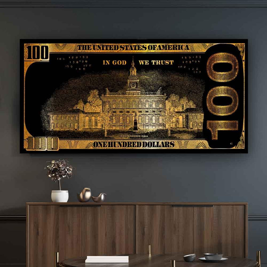 We Trust Golden Frank Hundred Dollar Bill inspirational motivational canvas art for home office gym by symbolic designs  lifestyle