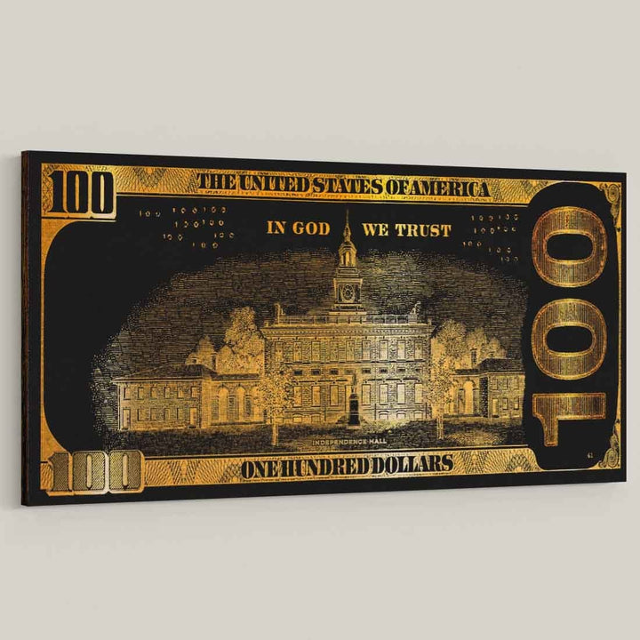 We Trust Golden Frank Hundred Dollar Bill inspirational motivational canvas art for home office gym by symbolic designs