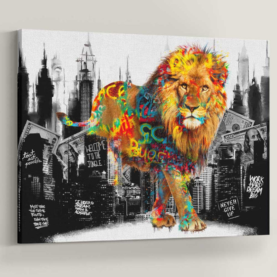 Welcome To The Jungle Lion inspirational motivational canvas art for home office gym by symbolic designs