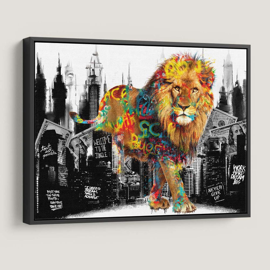 Welcome To The Jungle Lion inspirational motivational canvas art for home office gym by symbolic designs black frame