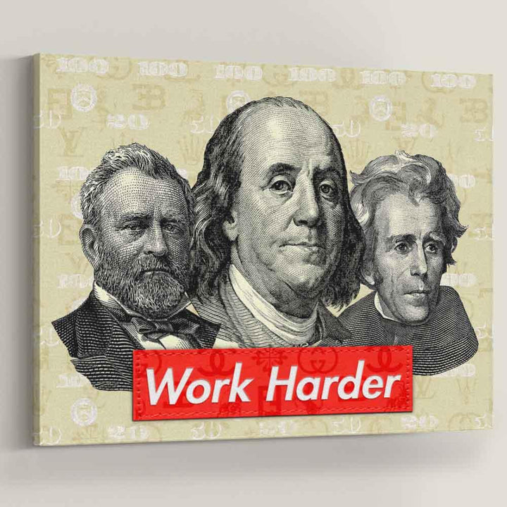 Work Harder Crew Money inspirational motivational canvas art for home office gym by symbolic designs
