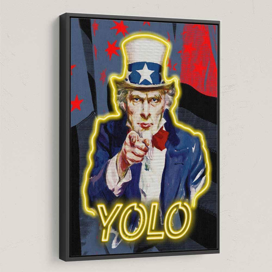 Yolo Uncle Sam American inspirational motivational canvas art for home office gym by symbolic designs black frame