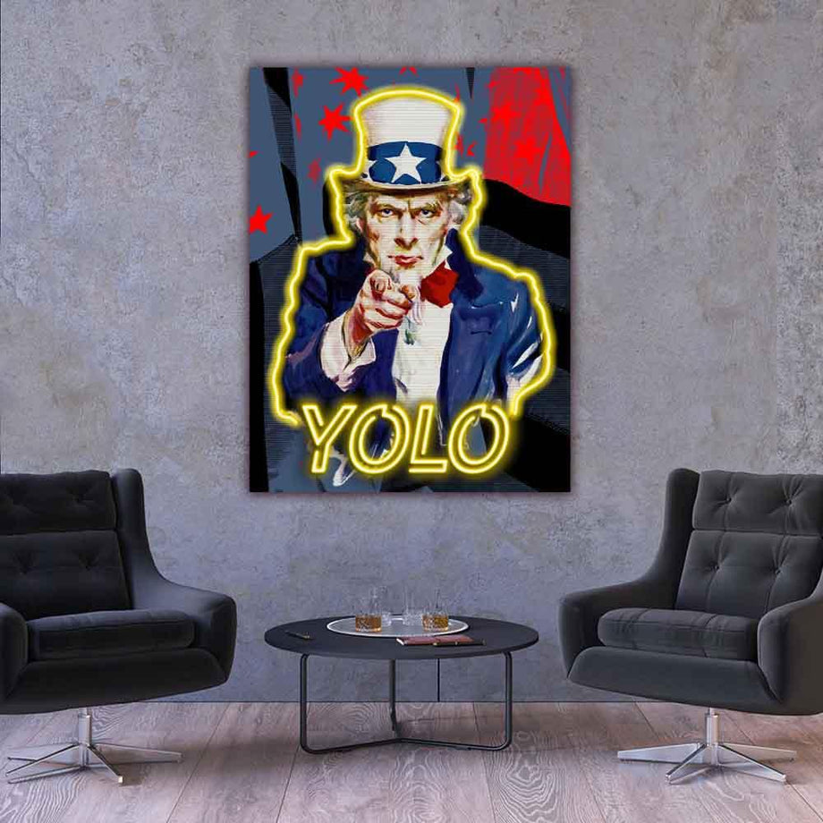 Yolo Uncle Sam American inspirational motivational canvas art for home office gym by symbolic designs lifestyle