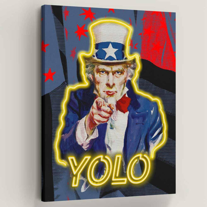 Yolo Uncle Sam American inspirational motivational canvas art for home office gym by symbolic designs