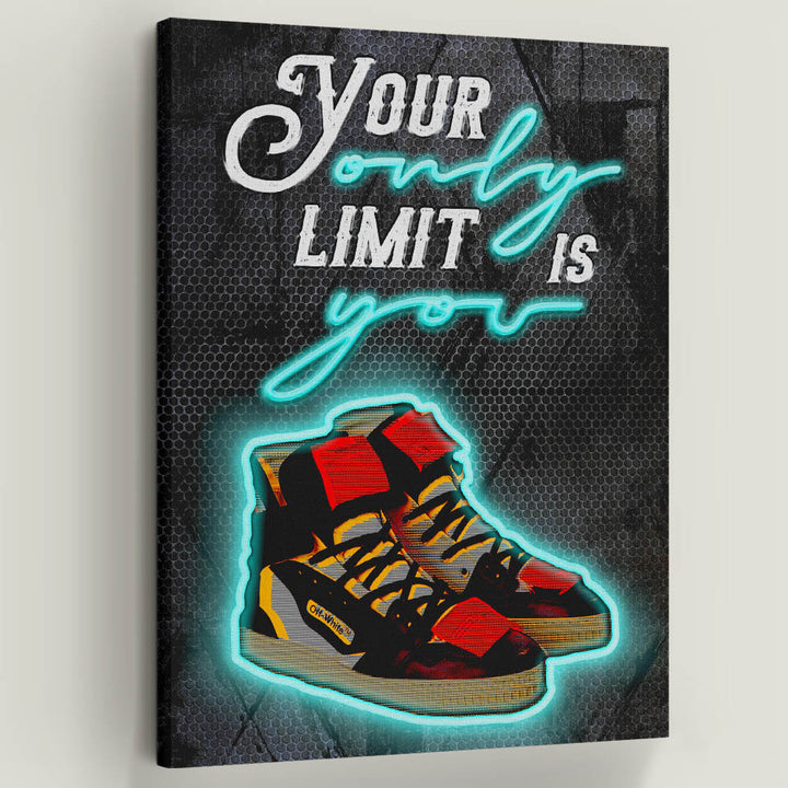 Your Only Limit Is You inspirational motivational canvas art for home office gym by symbolic designs