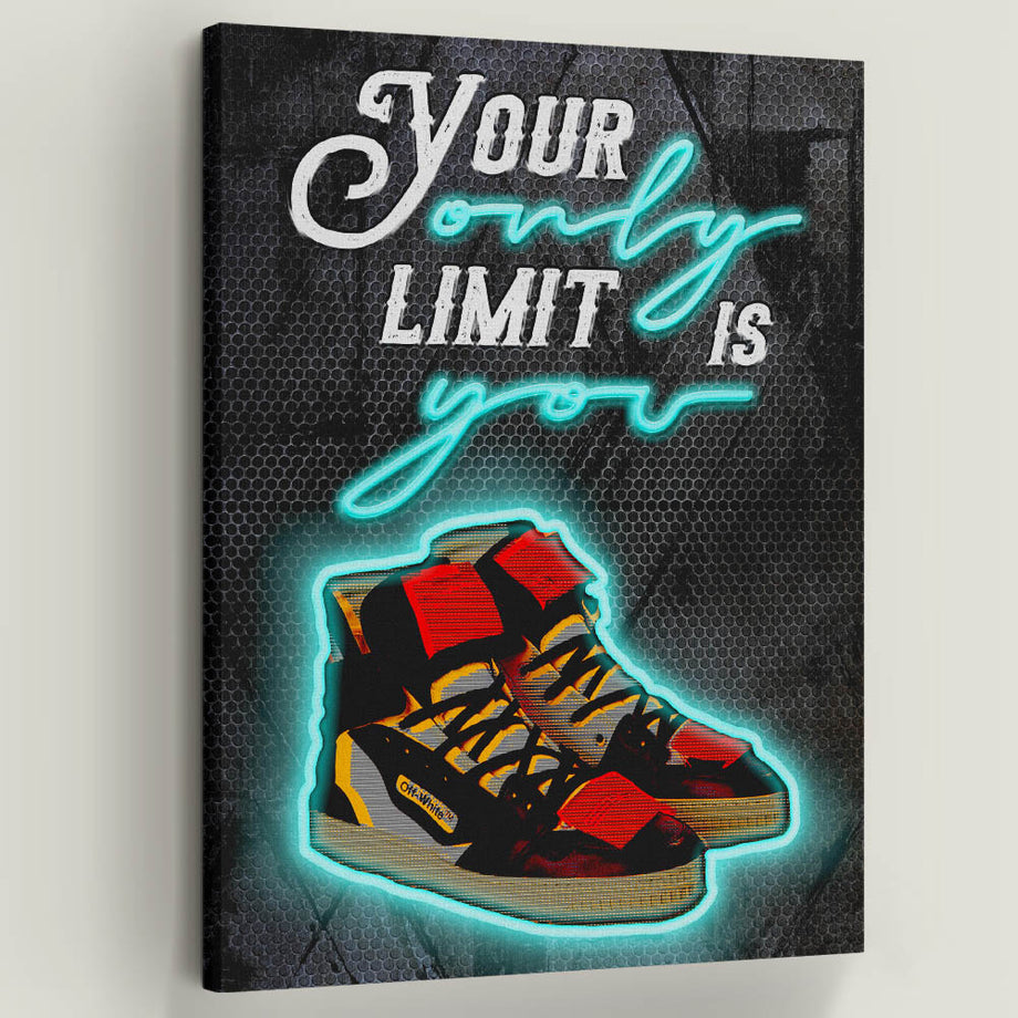 Shoes, no limits, neon lights, quote
