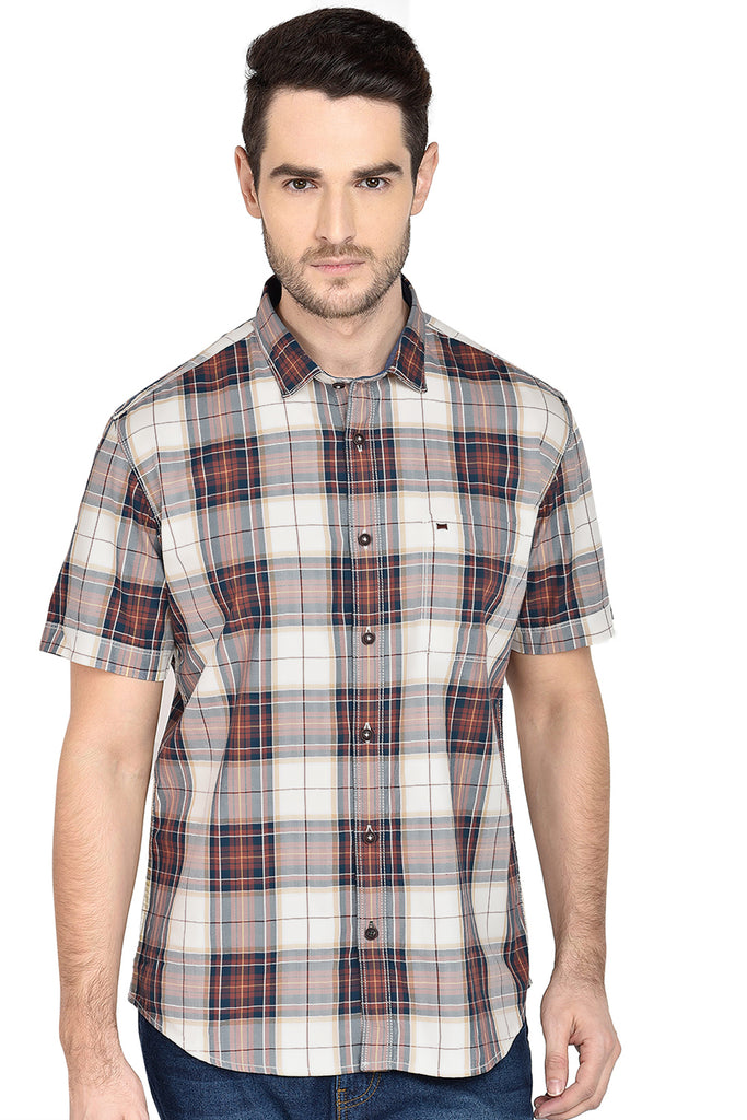 BASICS SLIM FIT GLAZED GINGER CHECKS SHIRT-18BSH37312