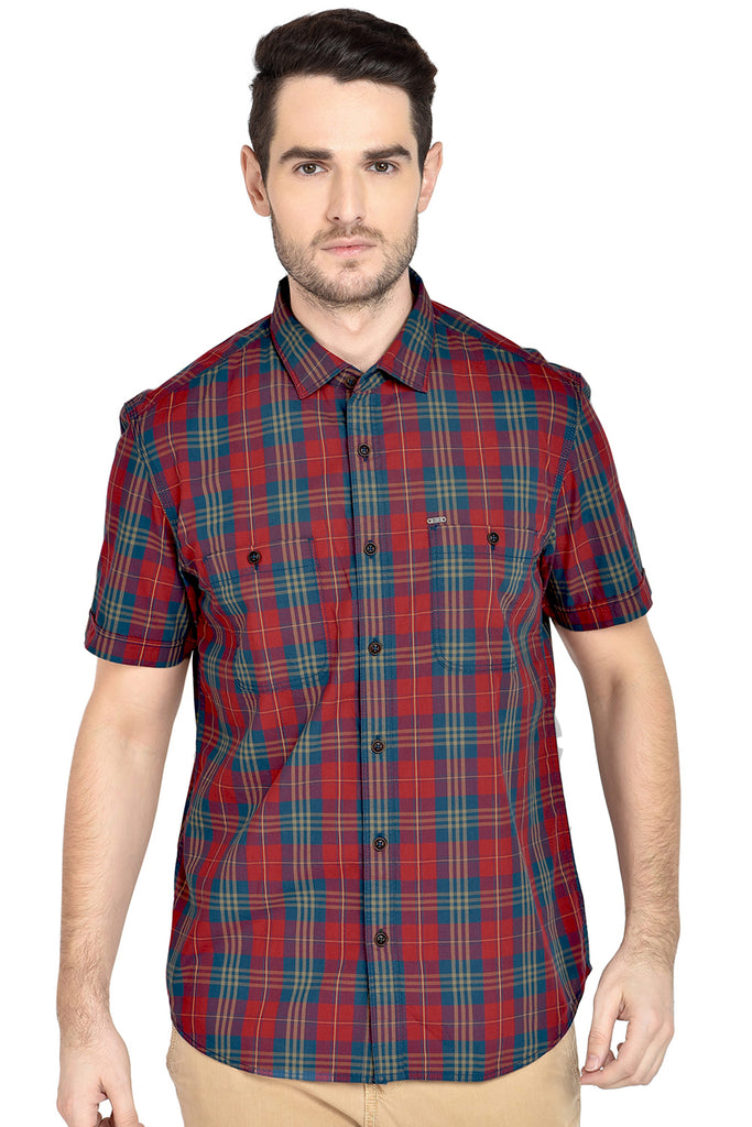 BASICS SLIM FIT MARS RED CHECKS SHIRT-18BSH37576