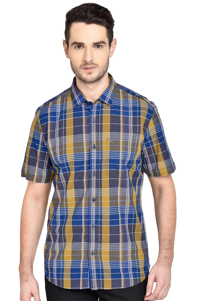 BASICS SLIM FIT GOLDEN APRICOT CHECKS SHIRT-18BSH37759