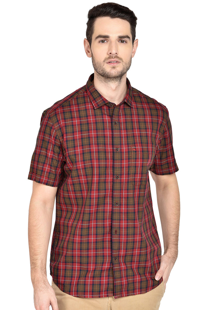 BASICS SLIM FIT TIBETAN RED CHECKS SHIRT-18BSH38705